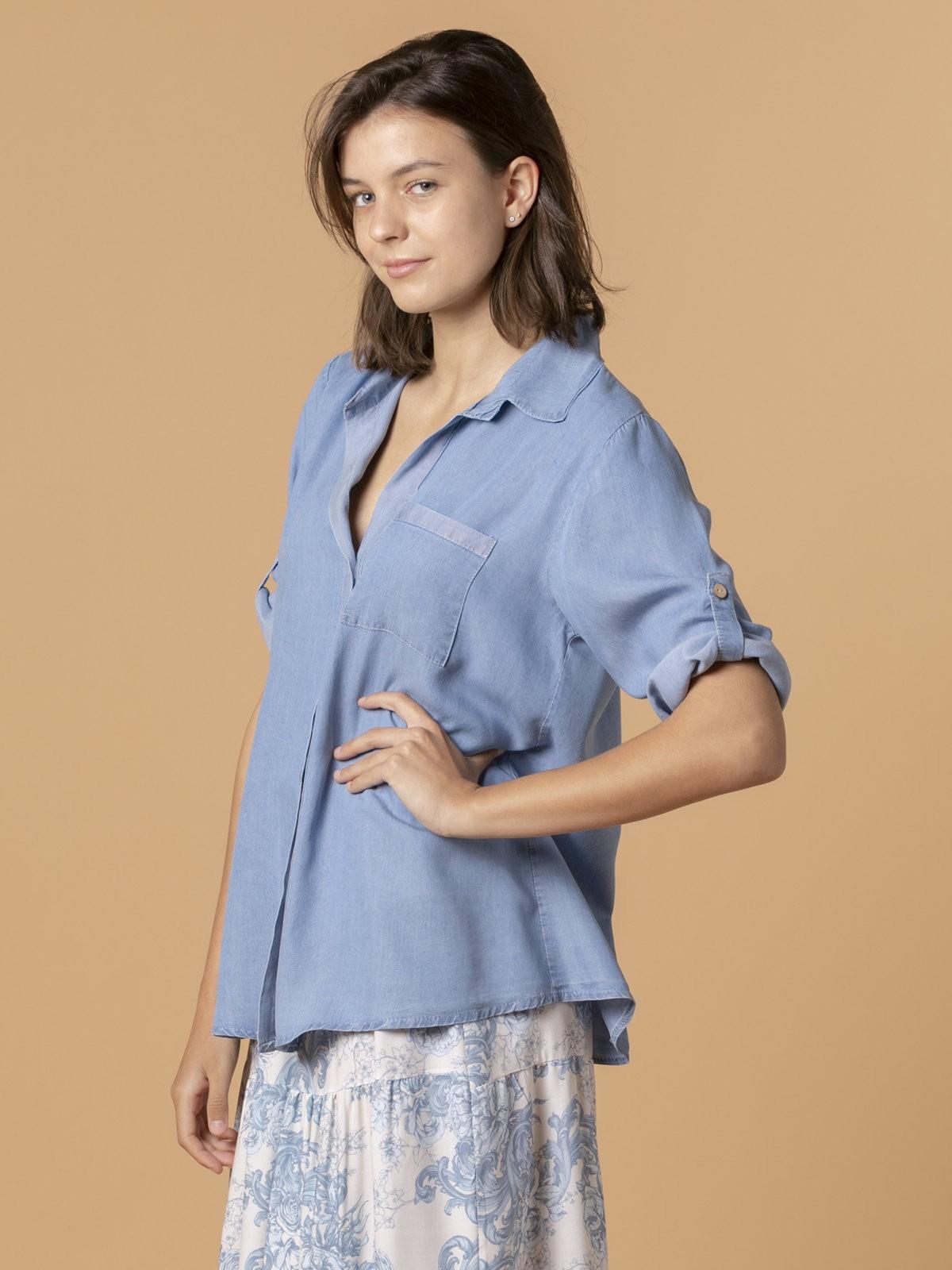 Woman Tencel shirt Blue Jean