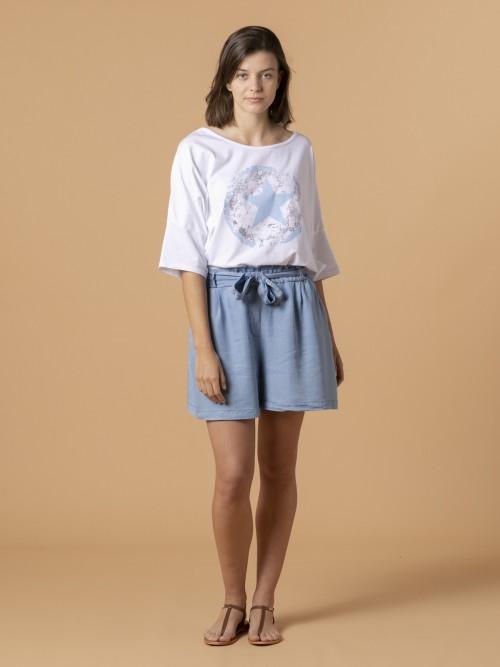 Woman Woman Tencel fabric shorts Blue Jean