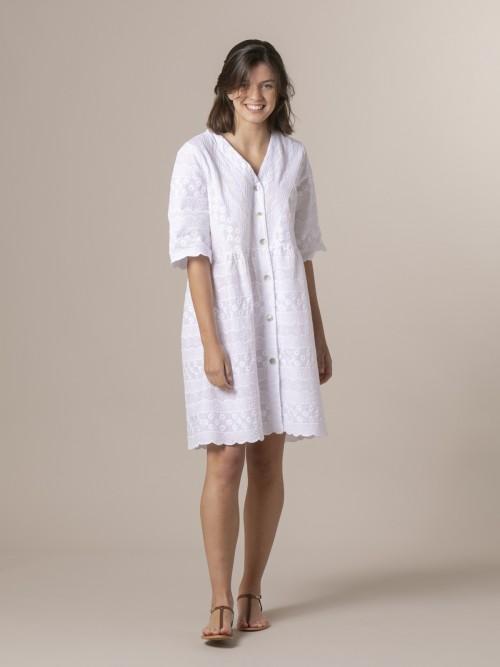 Vestido algodón encaje Blanco