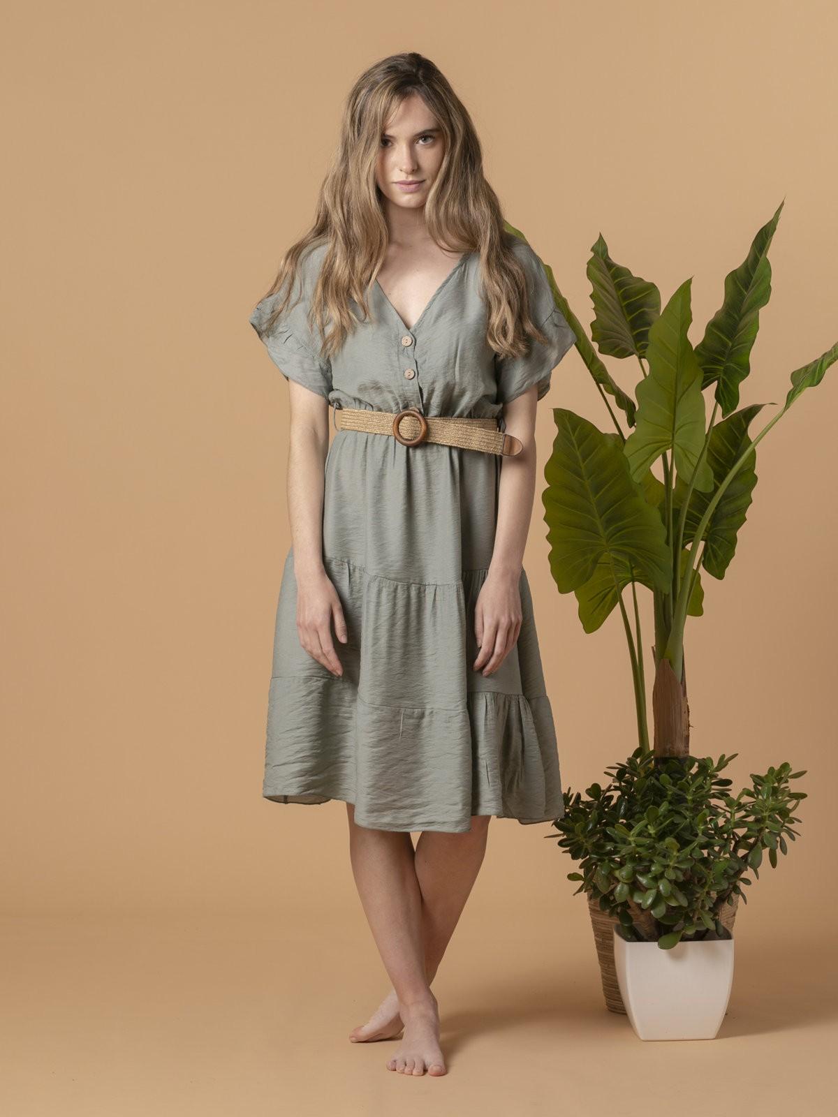 Woman Flowy V-neck dress Khaki