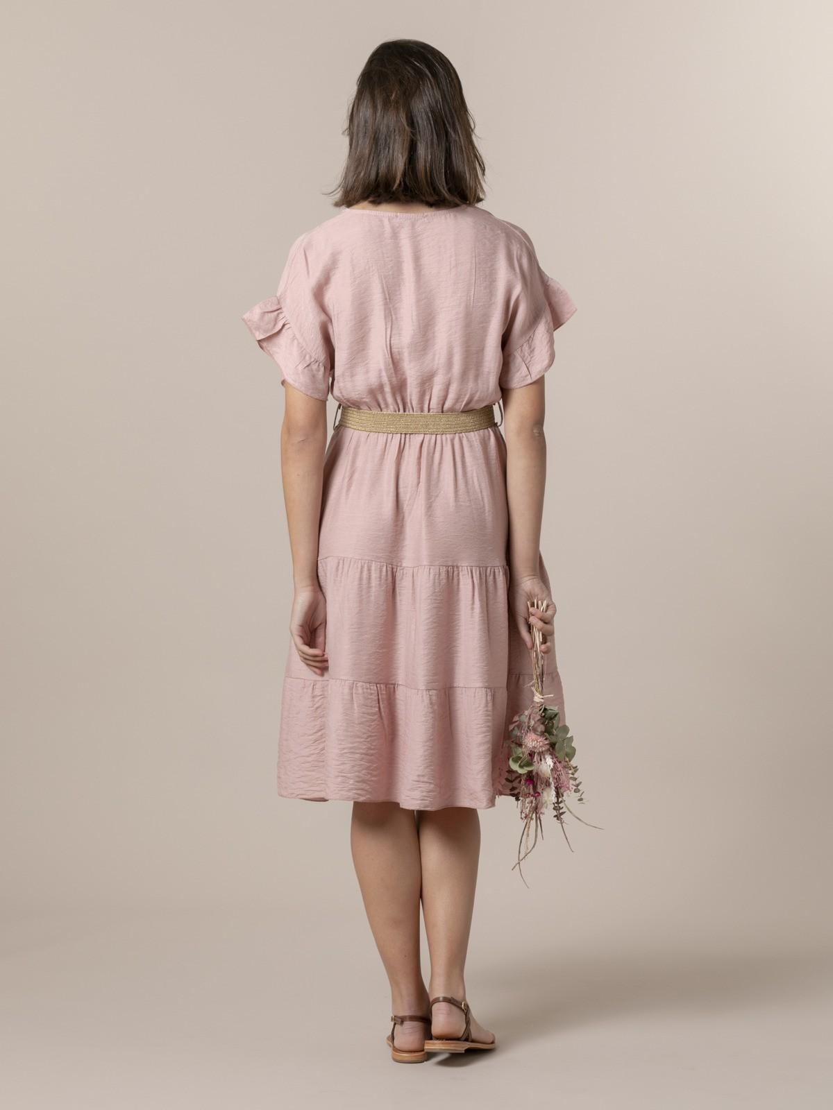 Woman Flowy V-neck dress Pink