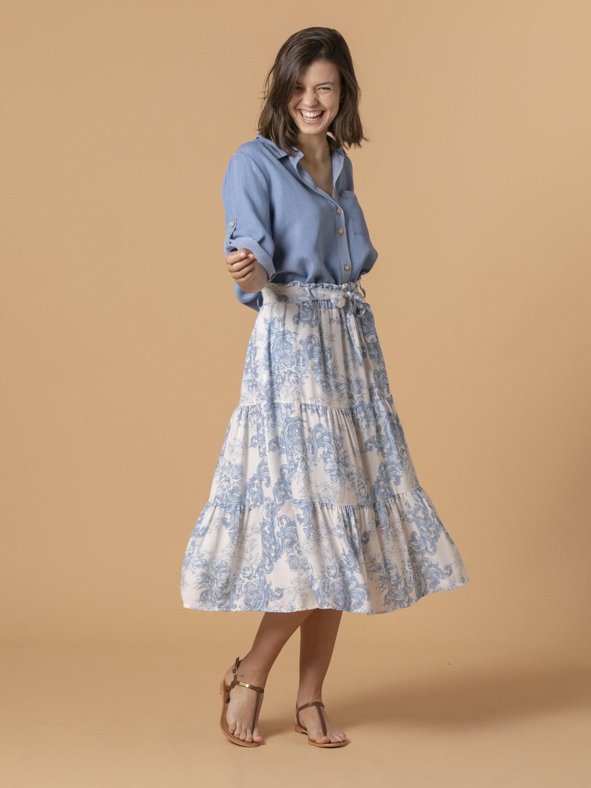 Woman Woman Romantic skirt cuts Blue