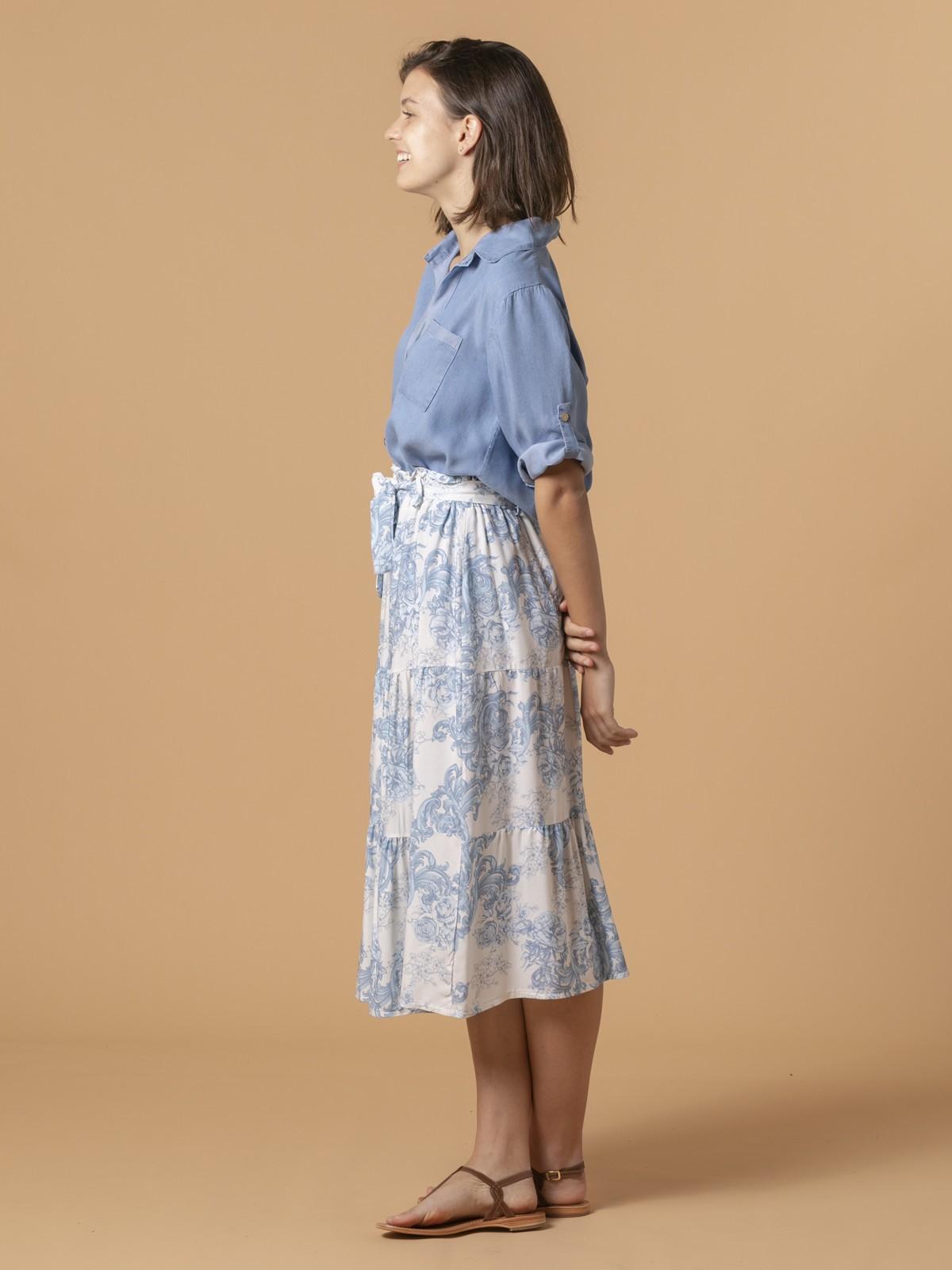 Falda romántica cortes Azul
