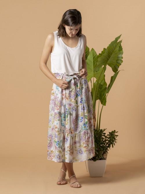 Woman Woman Floral print skirt cuts Multicolor