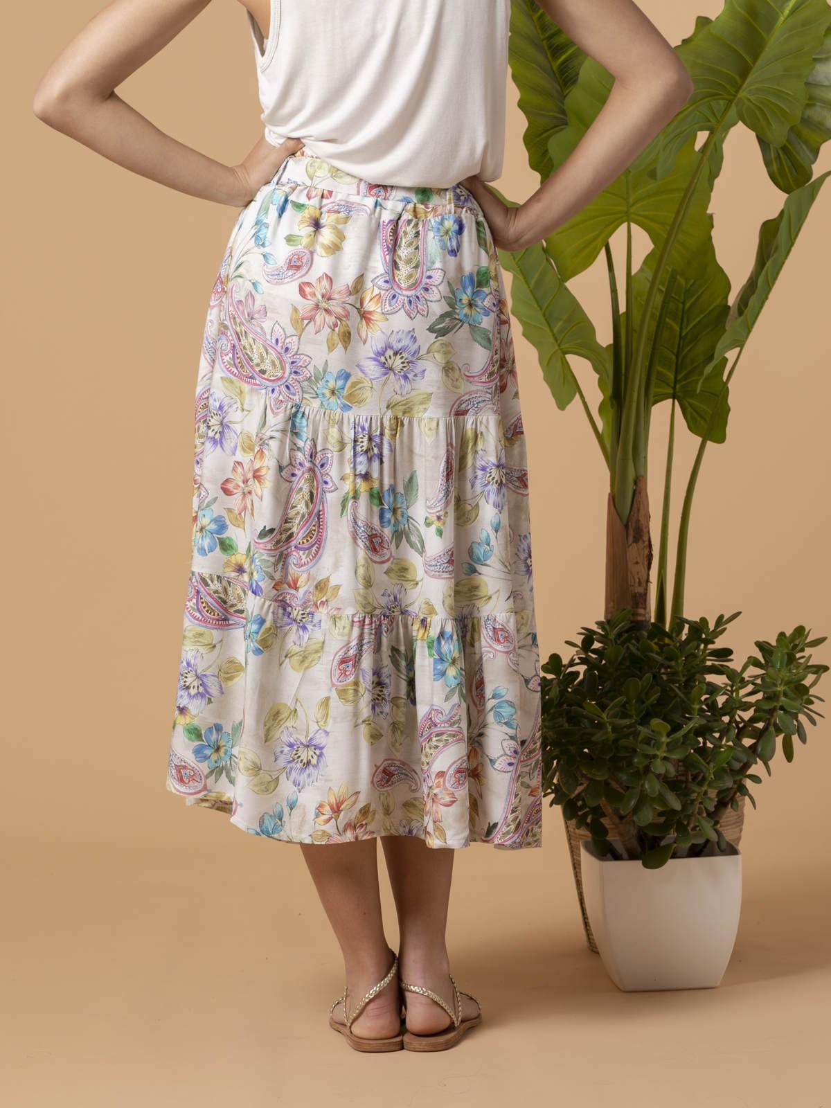 Falda estampado flores cortes Multicolor