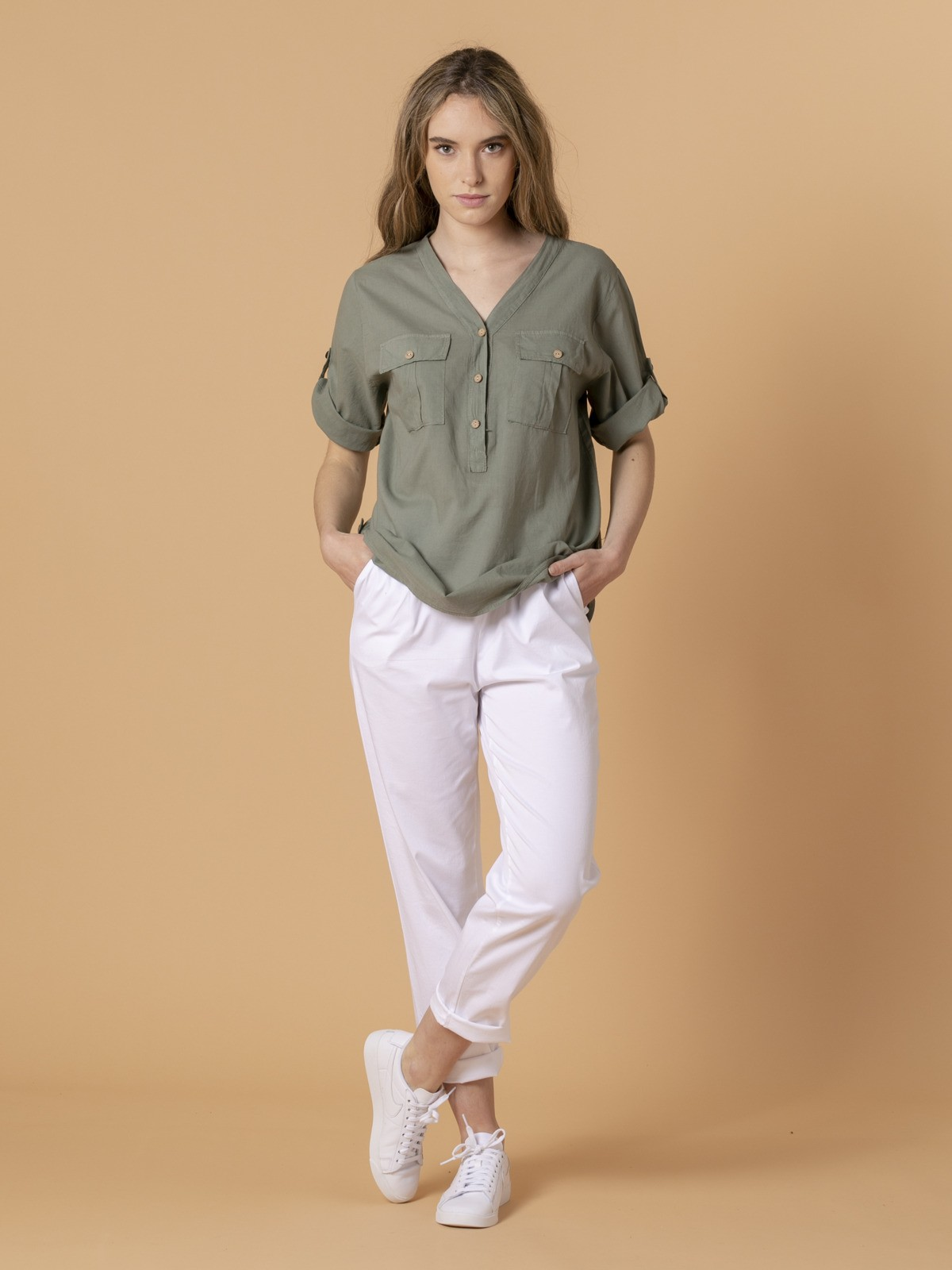 Woman Woman Buttoned blouse Khaki