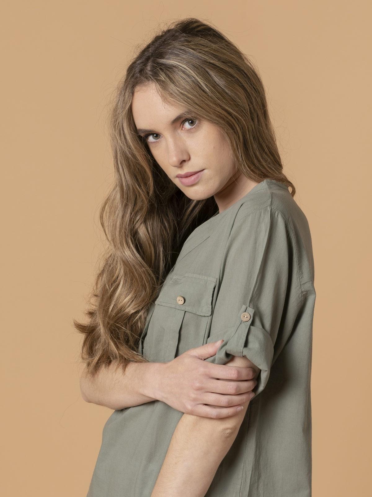 Blusa mujer botones Caqui