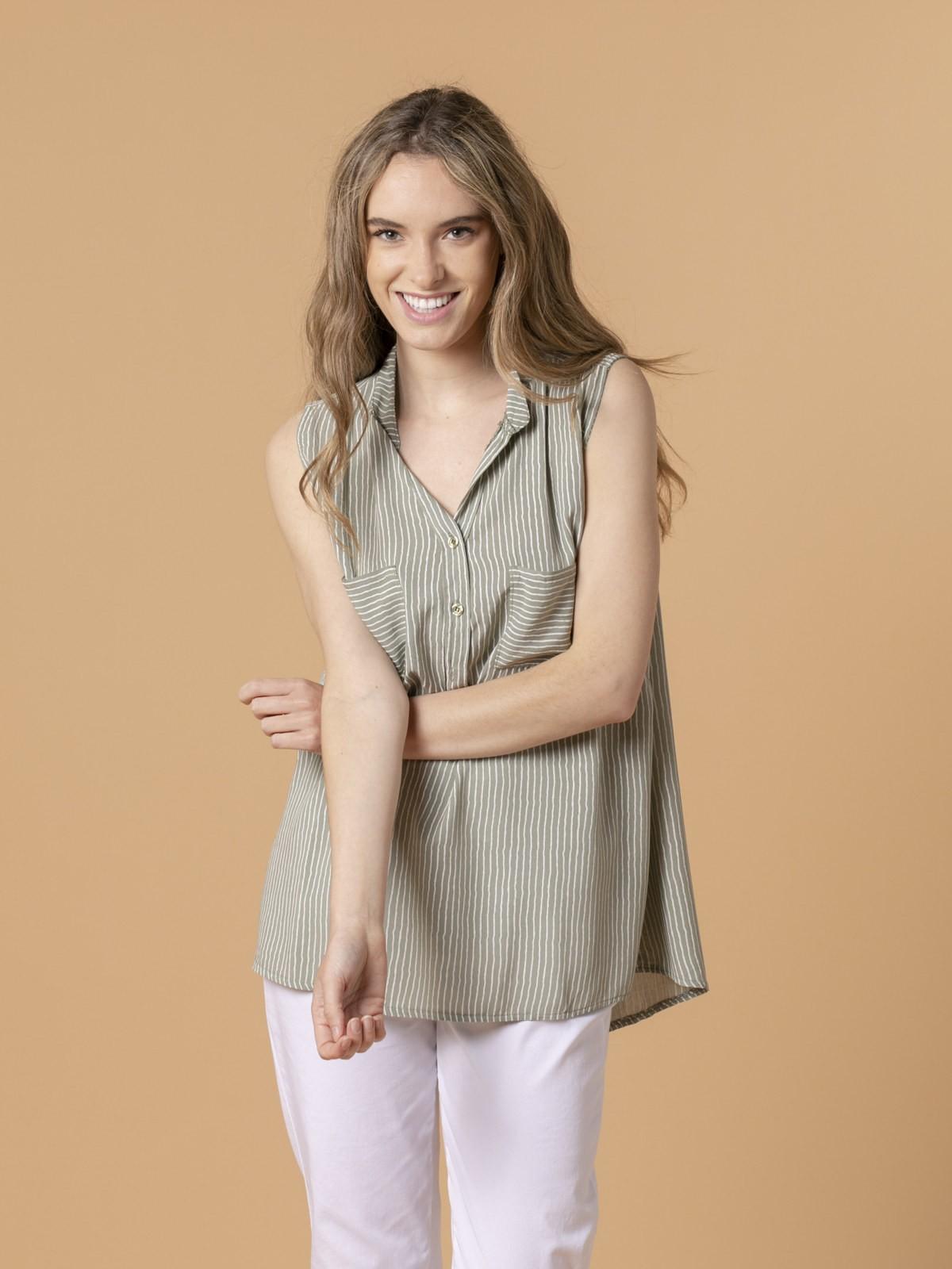 Blusa rayas mujer sin mangas Caqui
