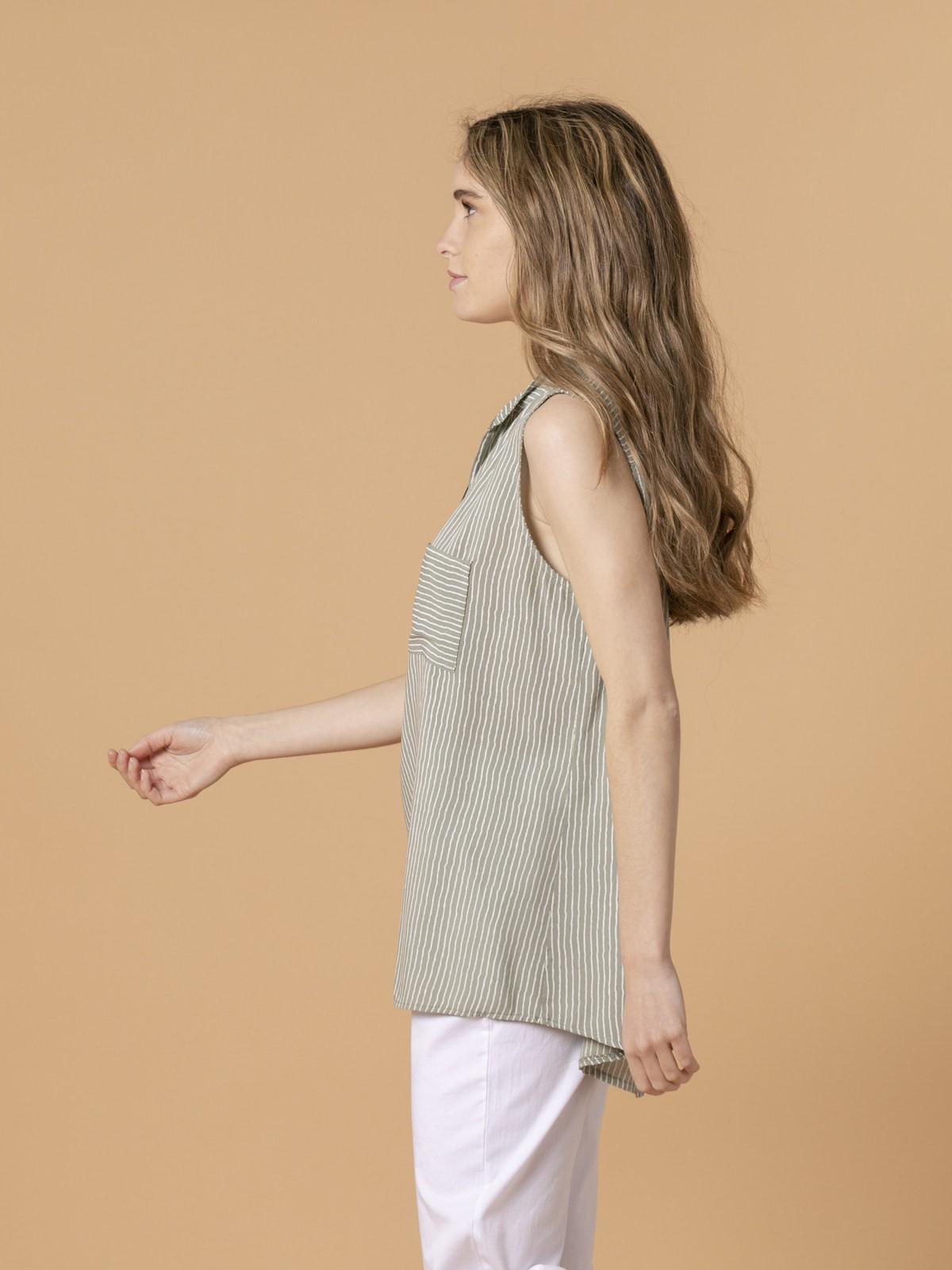 Woman Woman Striped sleeveless blouse Khaki