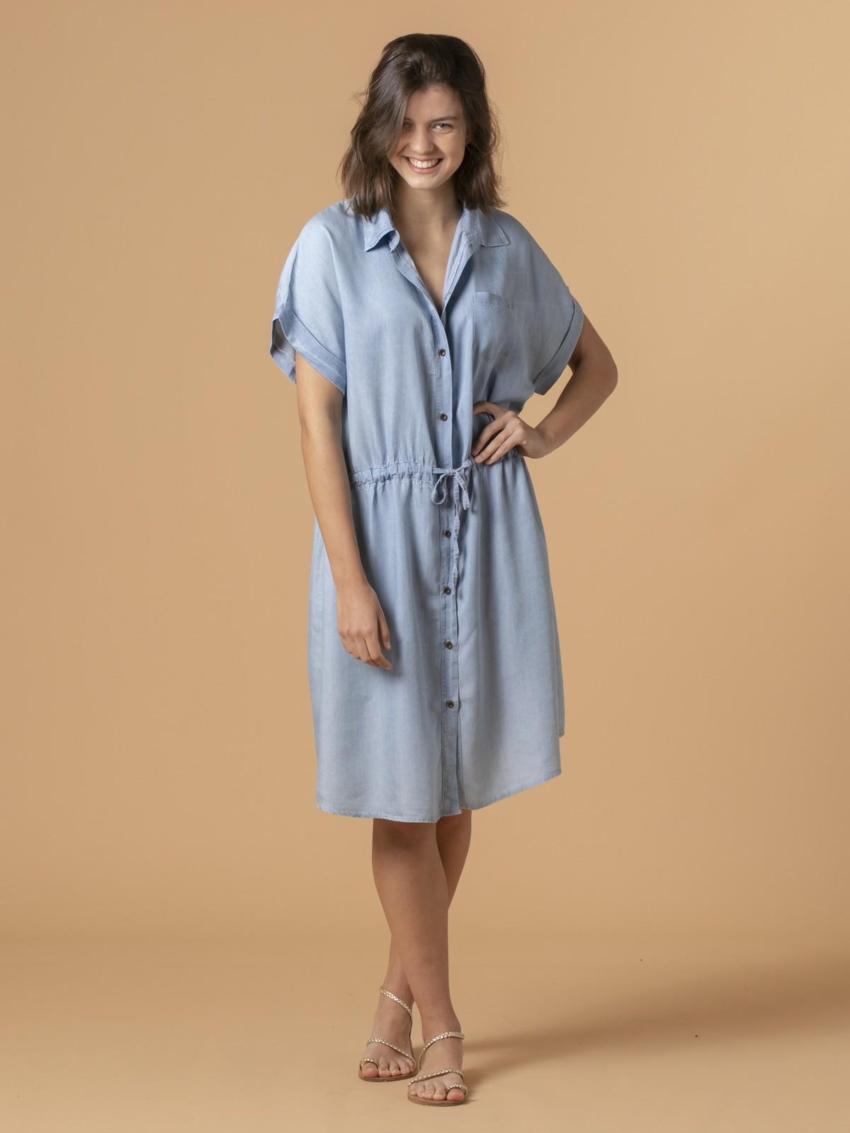 Vestido tencel botones Azul Jean