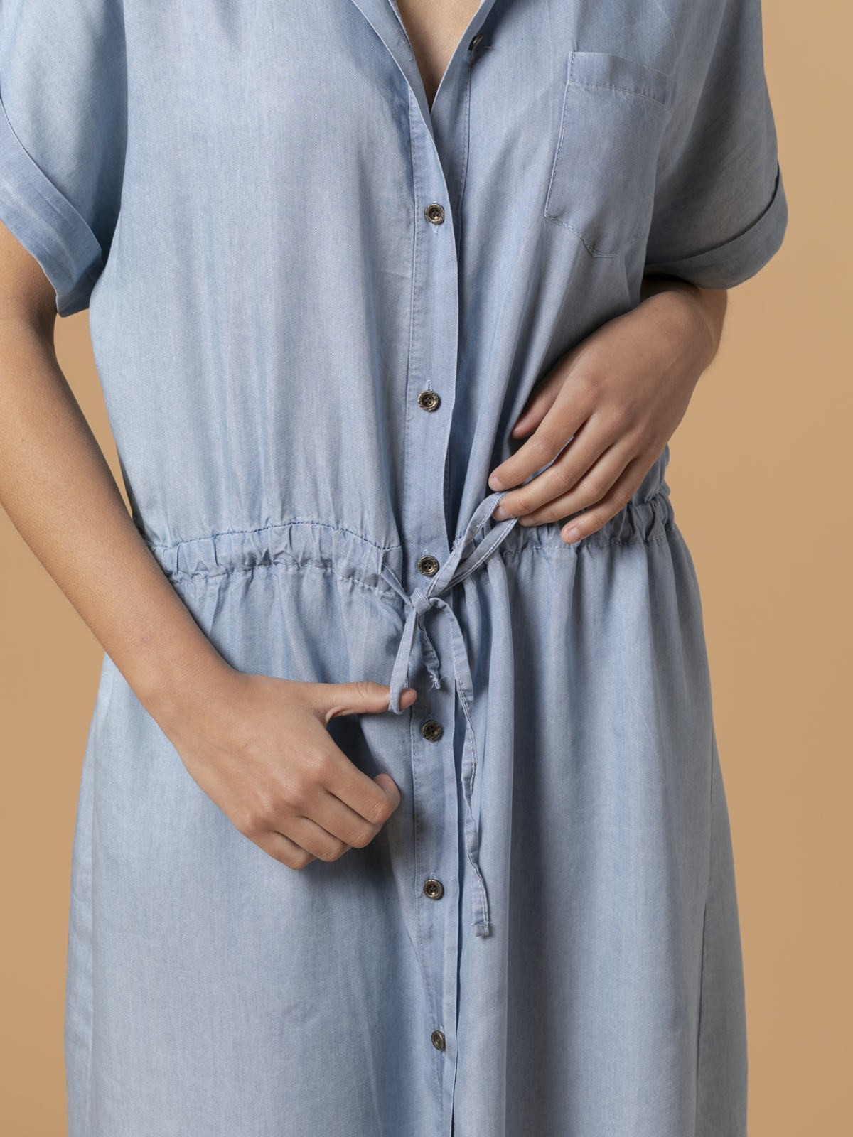 Woman Tencel dress with buttons Blue Jean