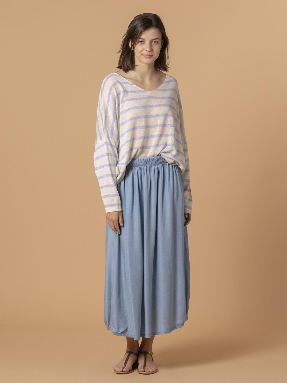 Woman Woman Tencel fluid skirt Blue Jean