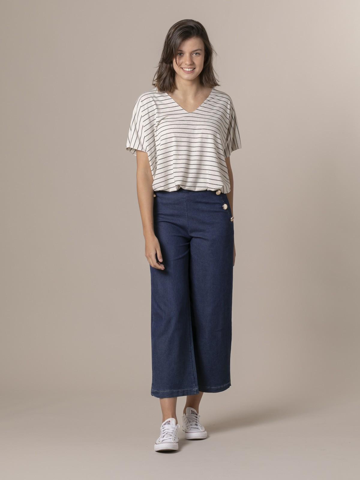 Pantalón vaquero mujer botones Azul Jean