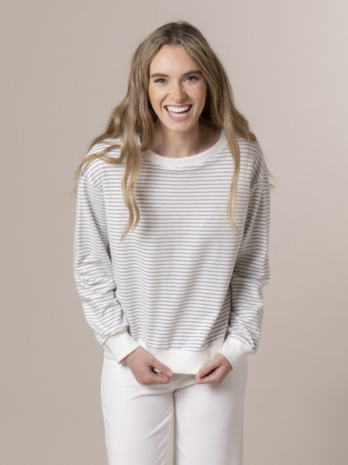 Woman Woman Striped sweatshirt Grey