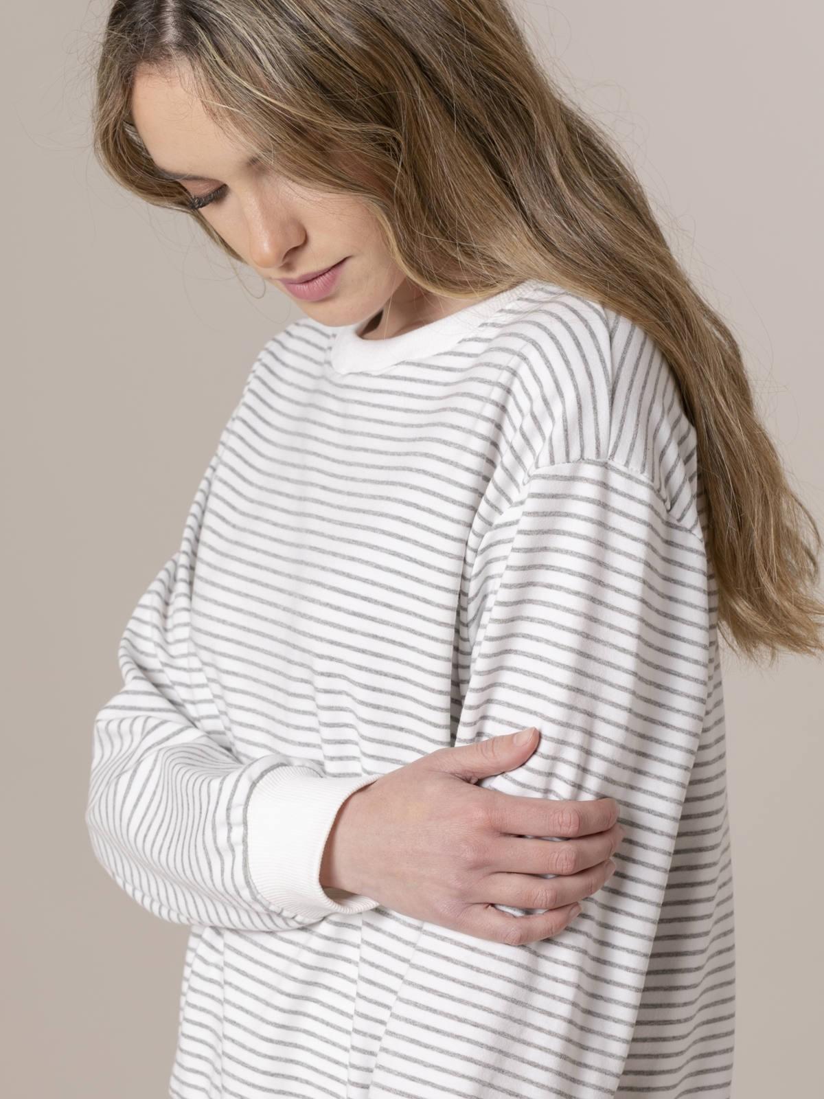 Woman Woman Striped sweatshirt Grey