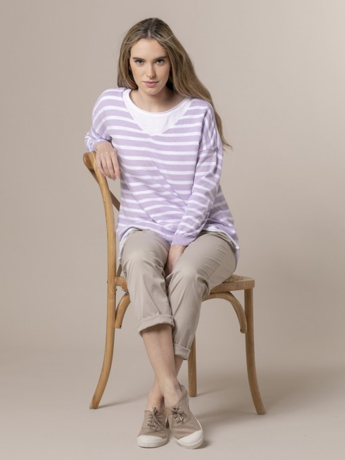 Woman Woman Striped fine knit sweater Lila