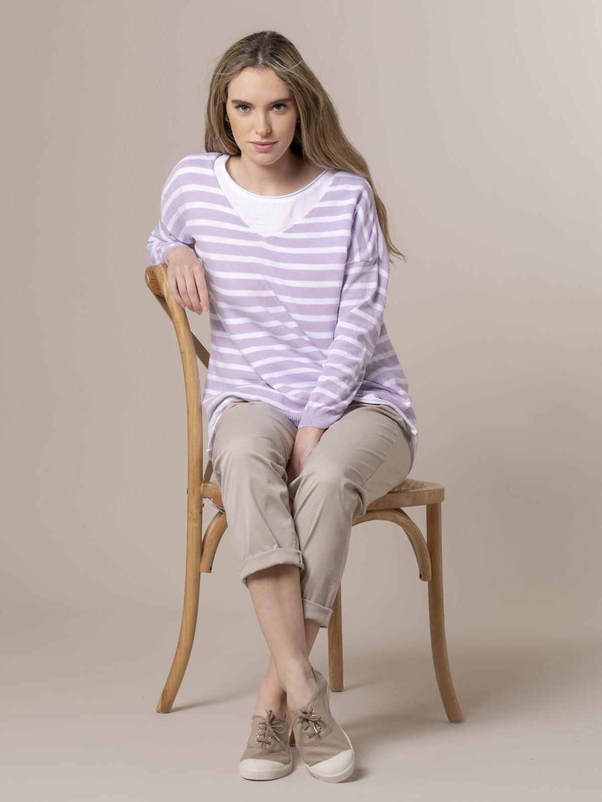 Woman Woman Striped fine knit sweater Lila