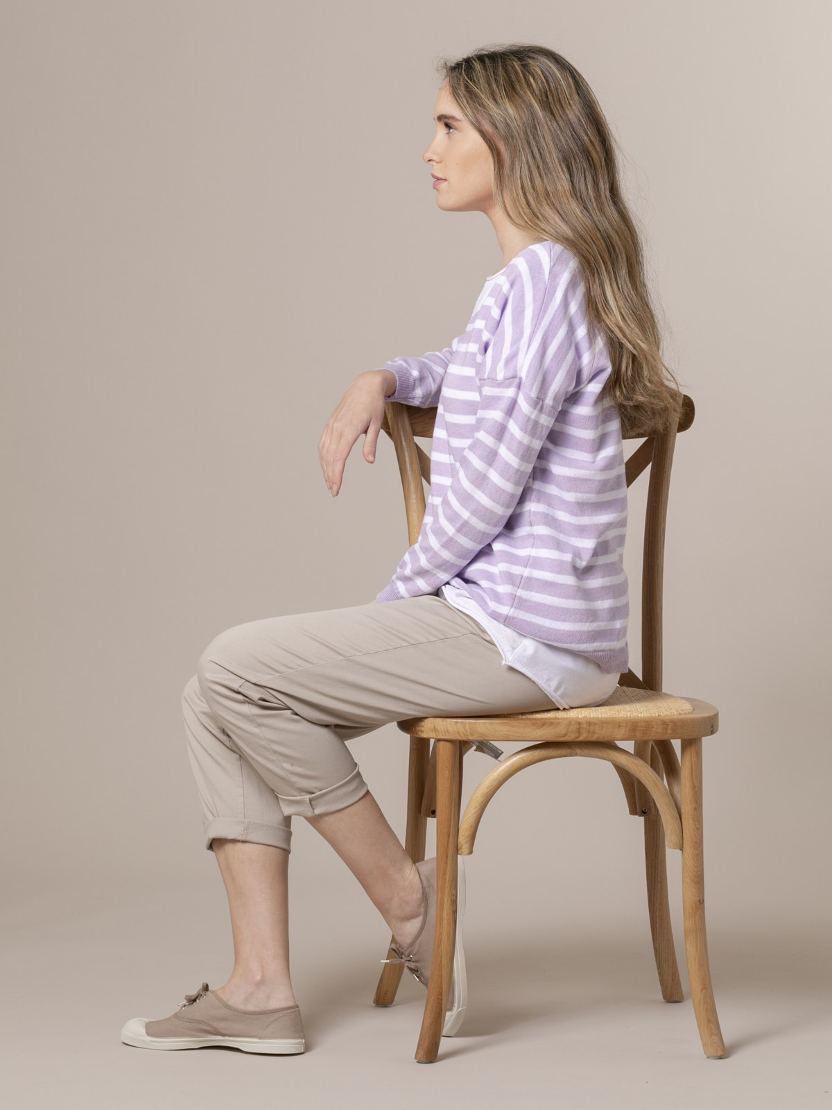 Jersey de punto mujer fino de rayas Lila