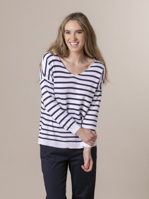 Woman Woman Striped fine knit sweater Blue Navy