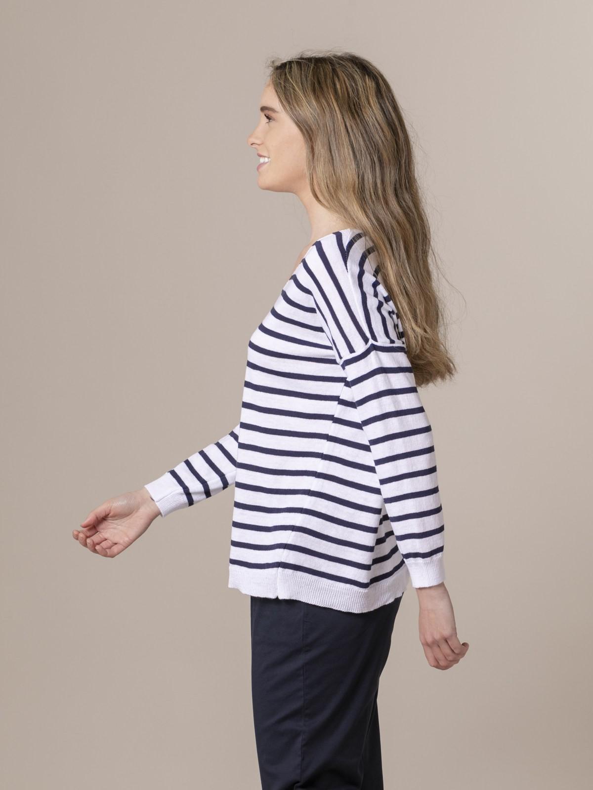 Jersey de punto mujer fino de rayas Azul Marino