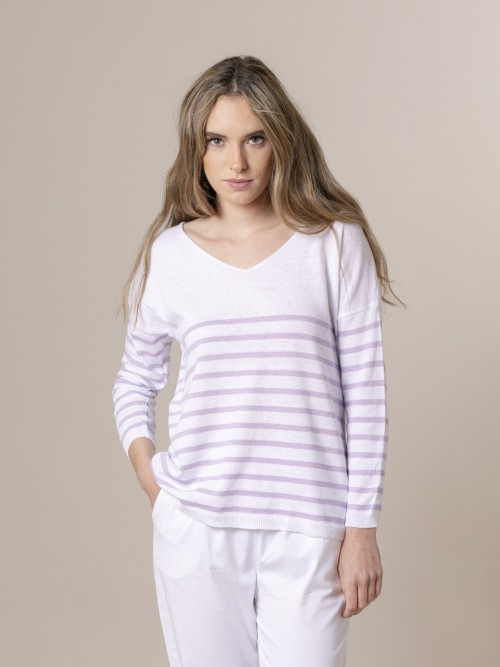 Woman Woman Striped fine knit sweater at hem Lila