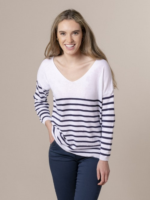 Woman Woman Striped fine knit sweater at hem Blue Navy