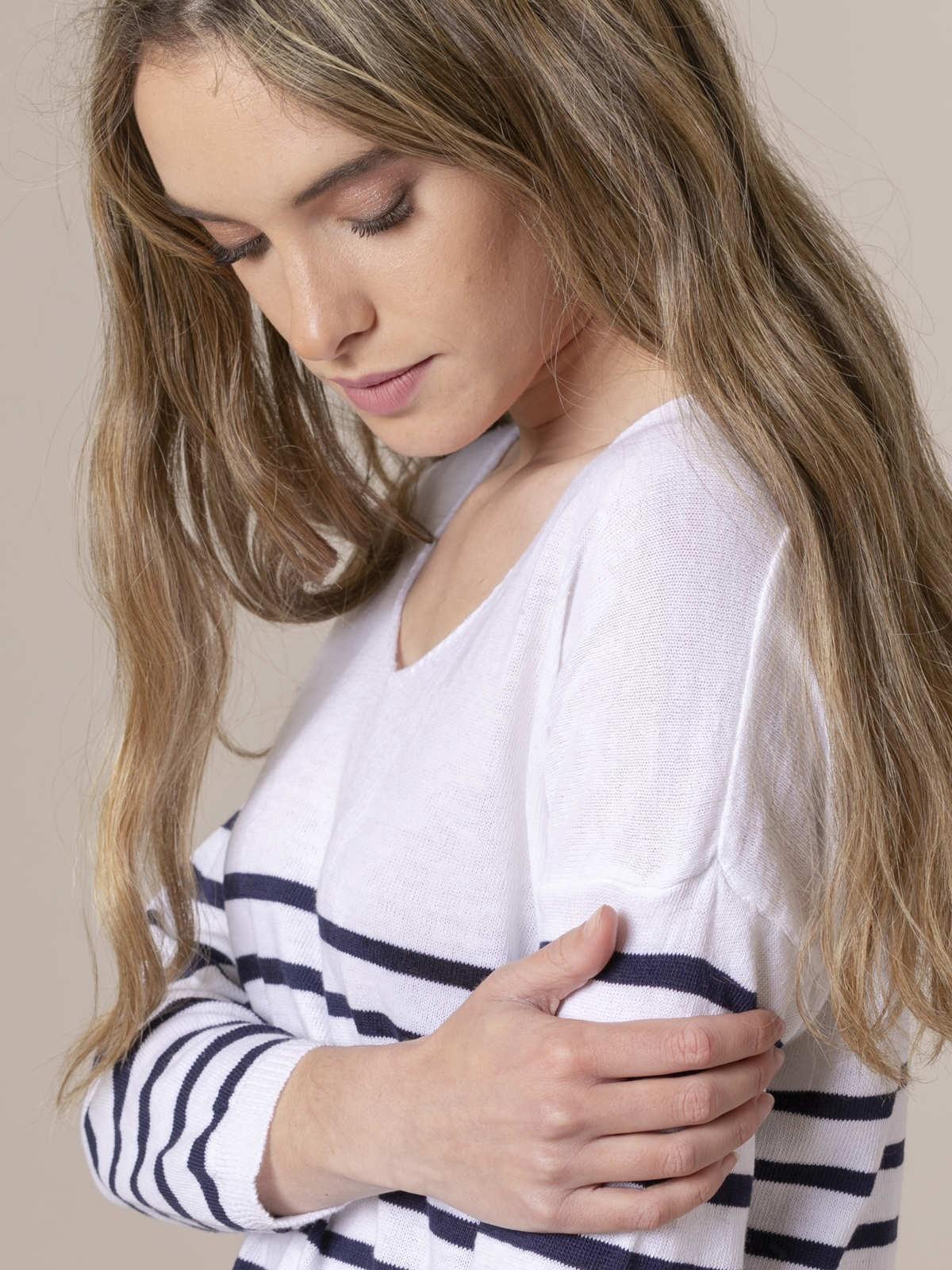 Jersey mujer punto fino rayas en bajo Azul Marino
