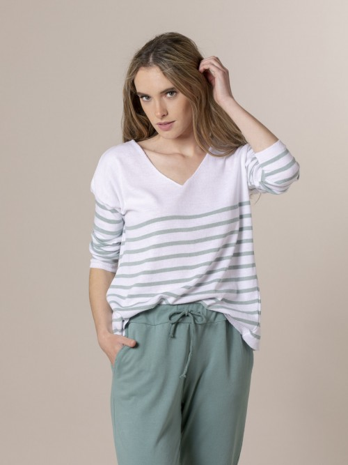 Woman Woman Striped fine knit sweater at hem Green claro