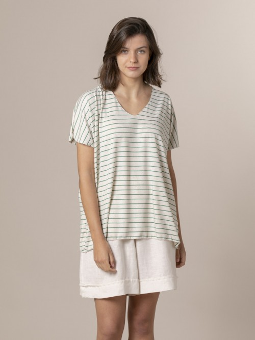 Woman Woman Striped oversize t-shirt Green