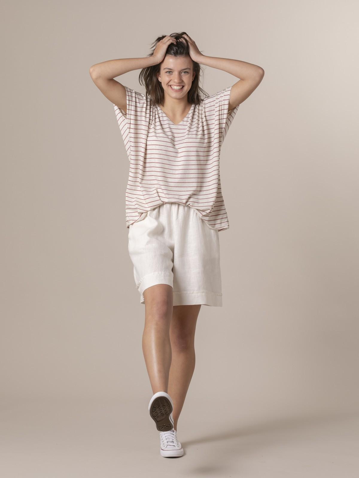 Woman Woman Striped oversize t-shirt Granate