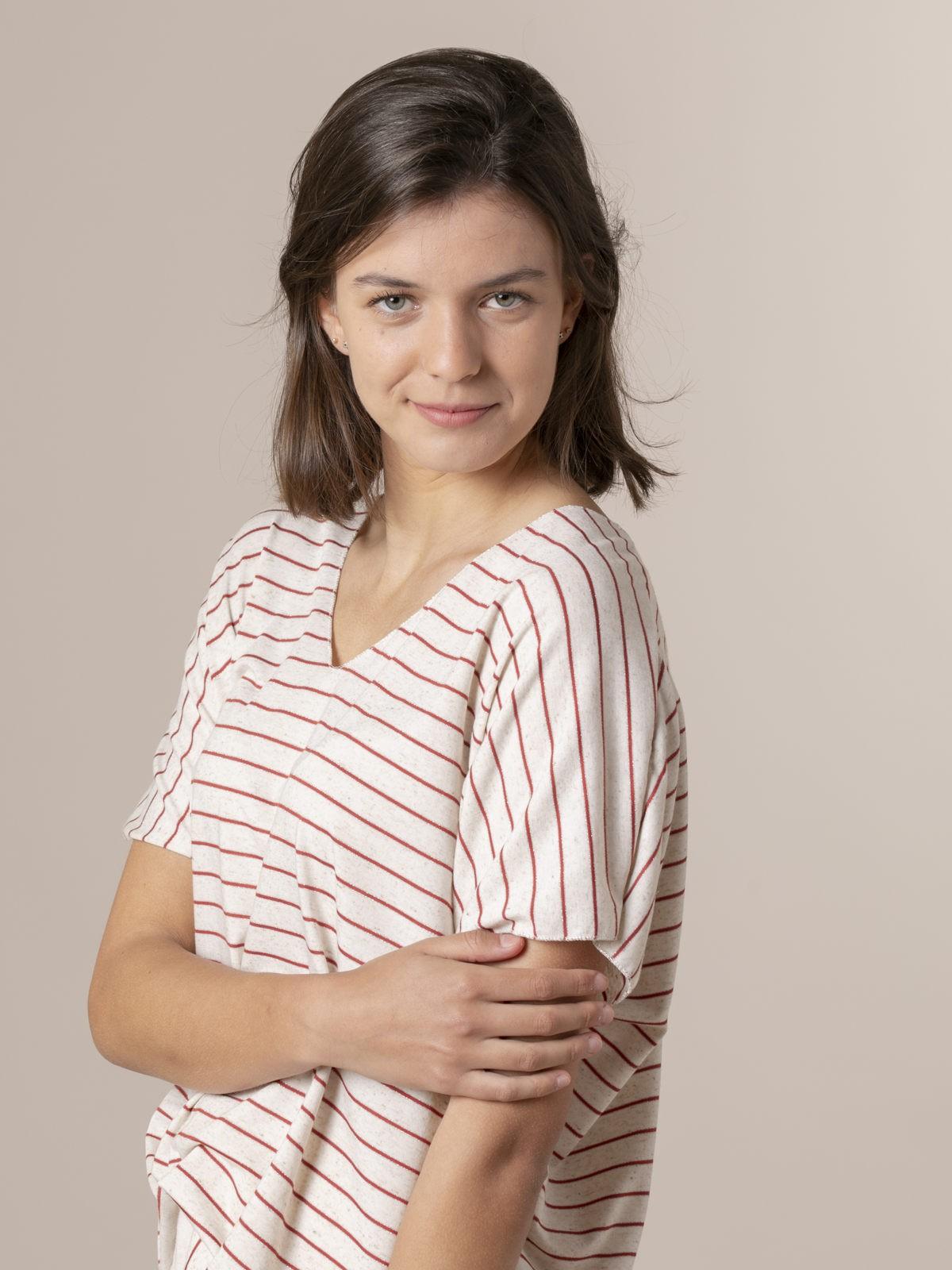 Camiseta mujer oversize rayas Granate