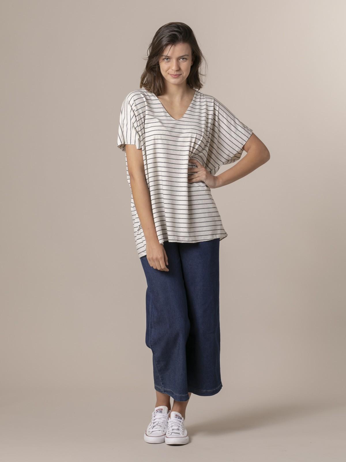 Camiseta mujer oversize rayas Azul