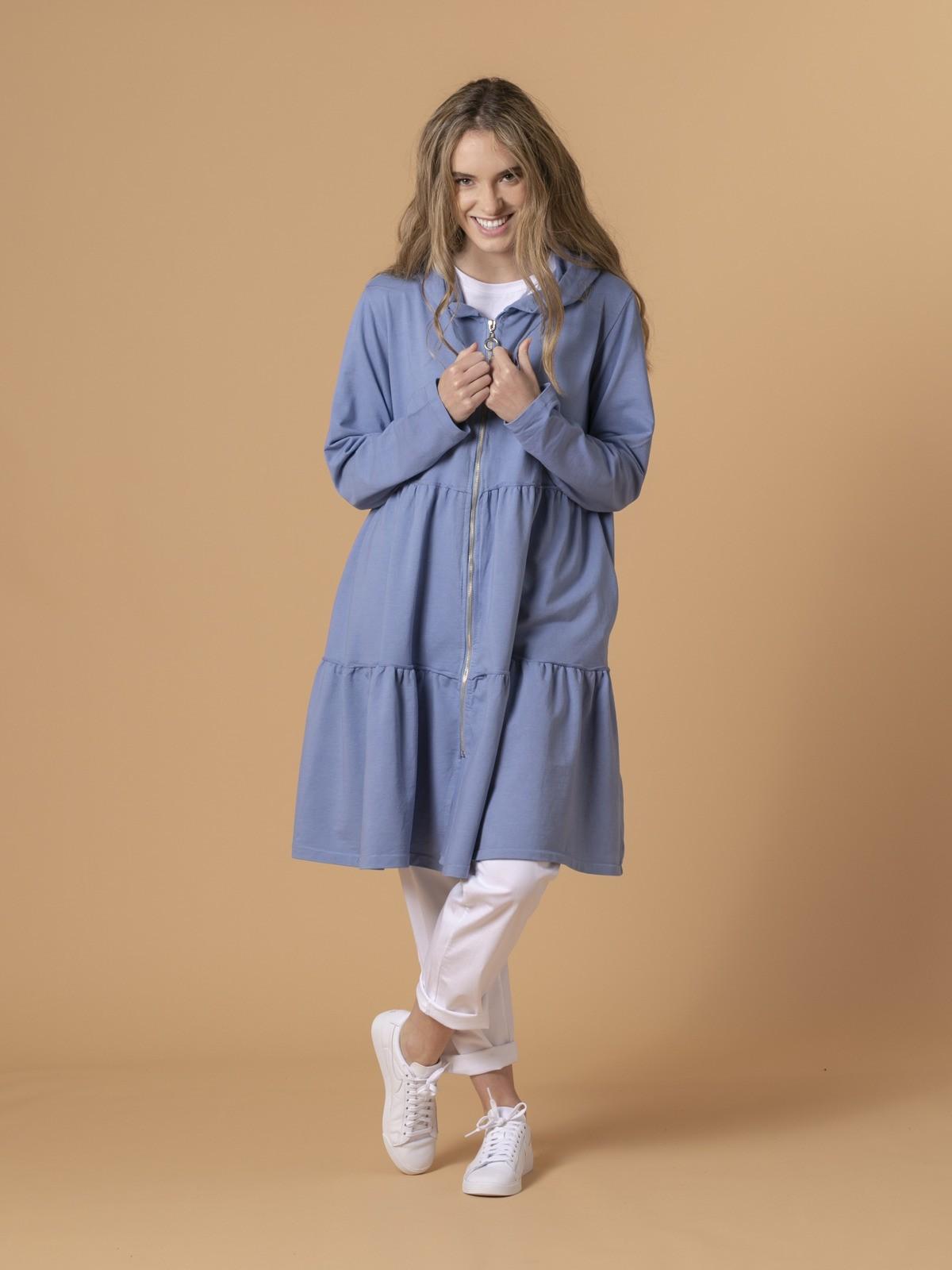 Sudadera larga capucha y cremallera Azul