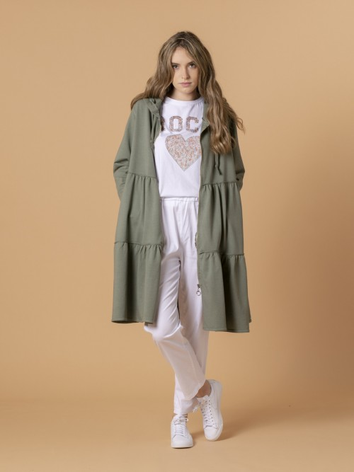 Woman Woman Long zip-up hoodie Khaki