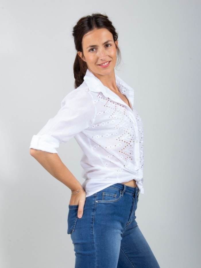 CAMISA MANGA LARGA BLANCA BORDADA White