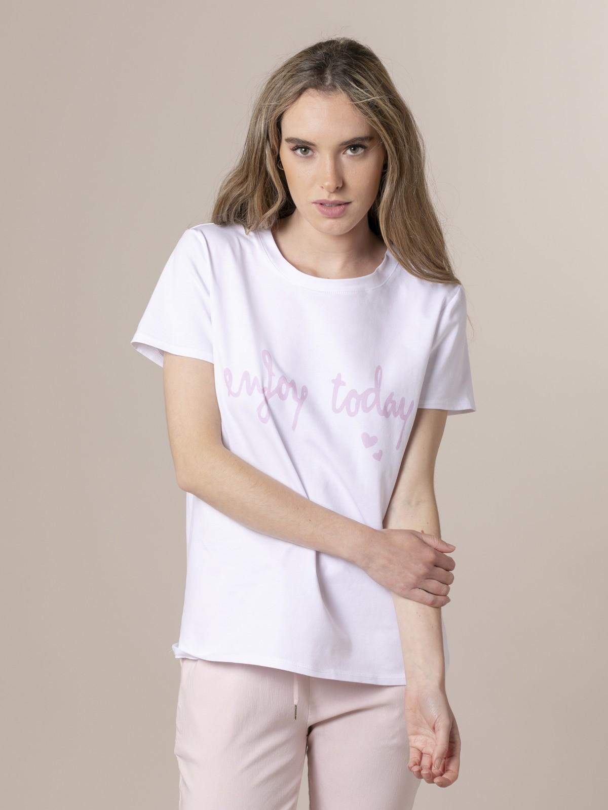 Woman Woman Enjoy today print T-shirt Pink