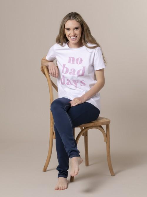Camiseta mujer no bad day Rosa