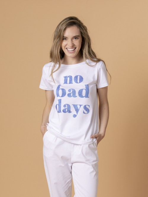 Woman Woman No bad day message t-shirt Blue
