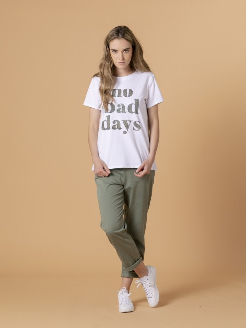 Woman Woman No bad day message t-shirt Khaki