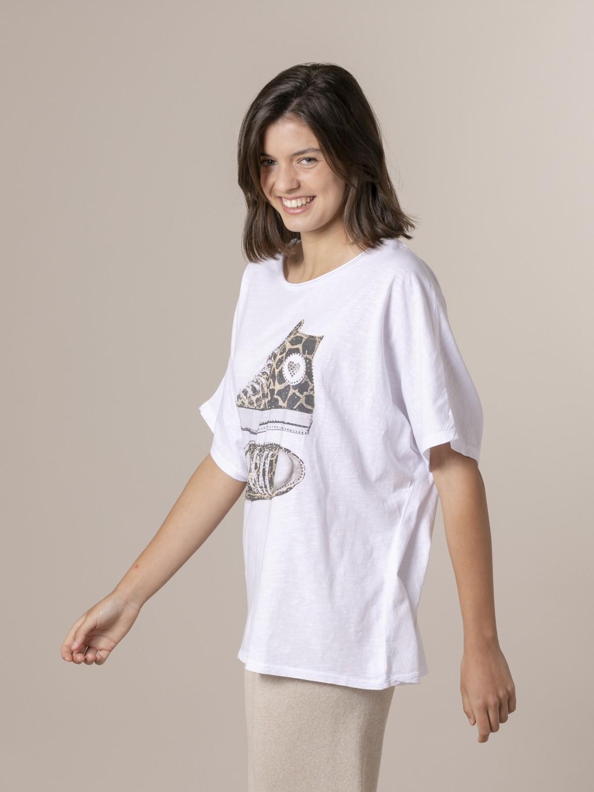 Camiseta animal mujer zapatillas Beige