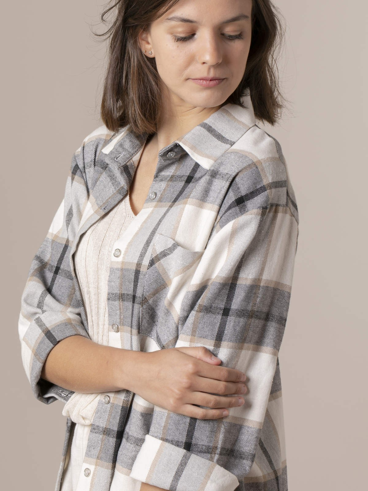 Woman Woman Colorful plaid shirt Black
