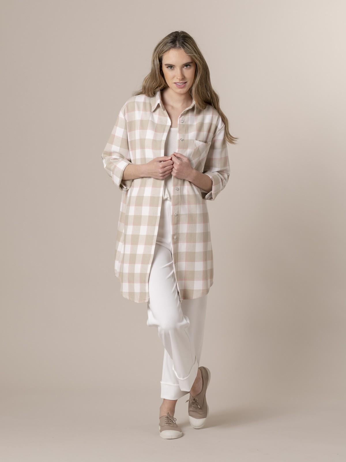 Woman Woman Colorful plaid shirt Beige
