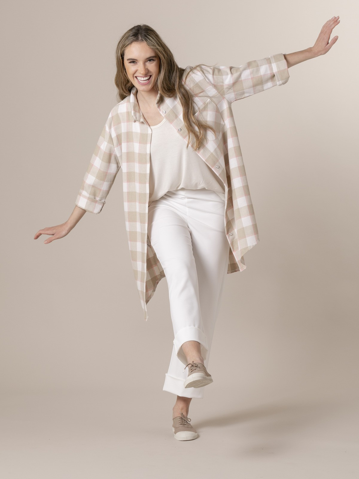 Camisa cuadros mujer colorido Beige
