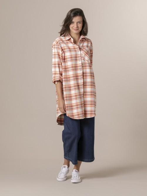 Woman Woman Colorful plaid shirt Orange
