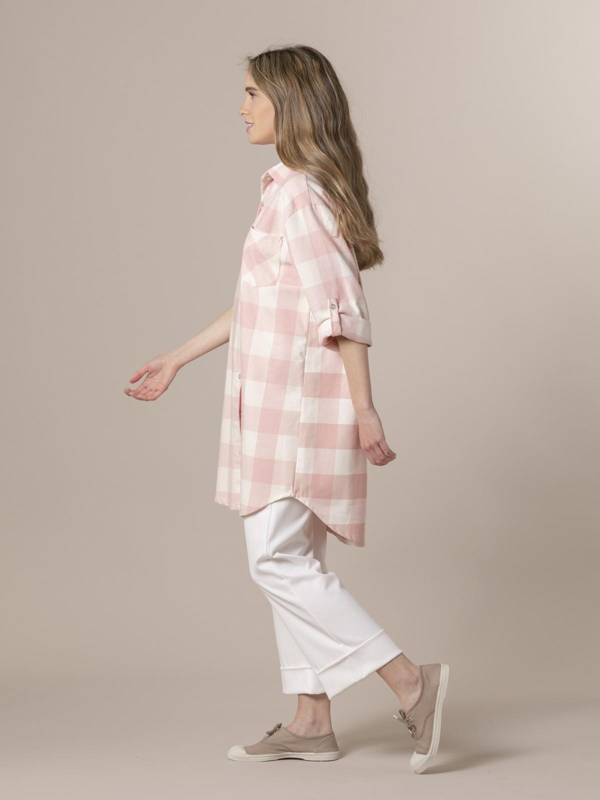 Woman Woman Plaid ecru background shirt Pink