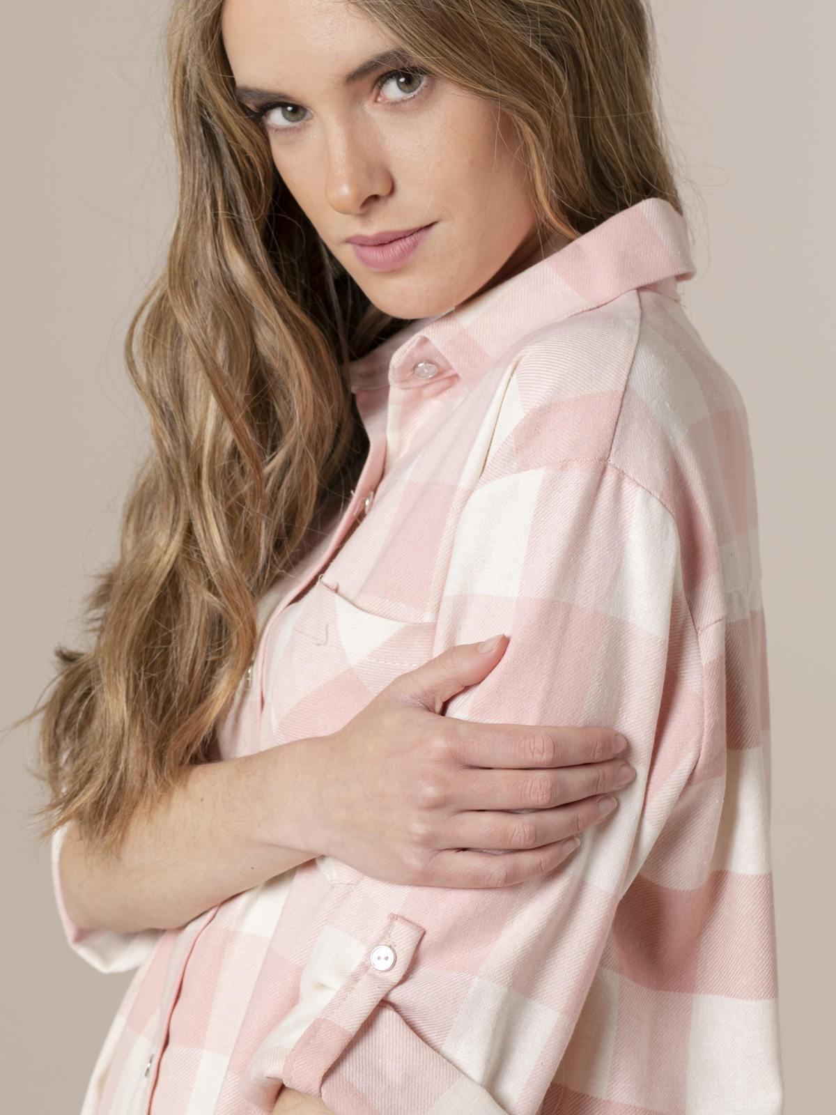 Camisa fondo crudo cuadros Rosa
