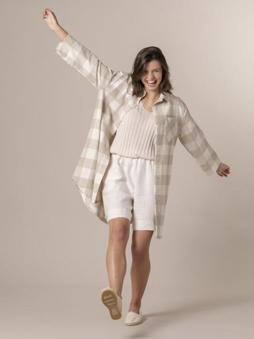 Woman Woman Plaid ecru background shirt Beige