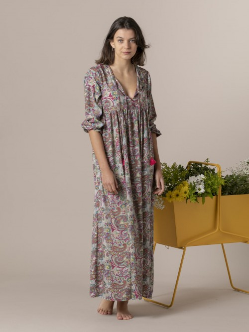 Woman Woman Long printed dress Multicolor