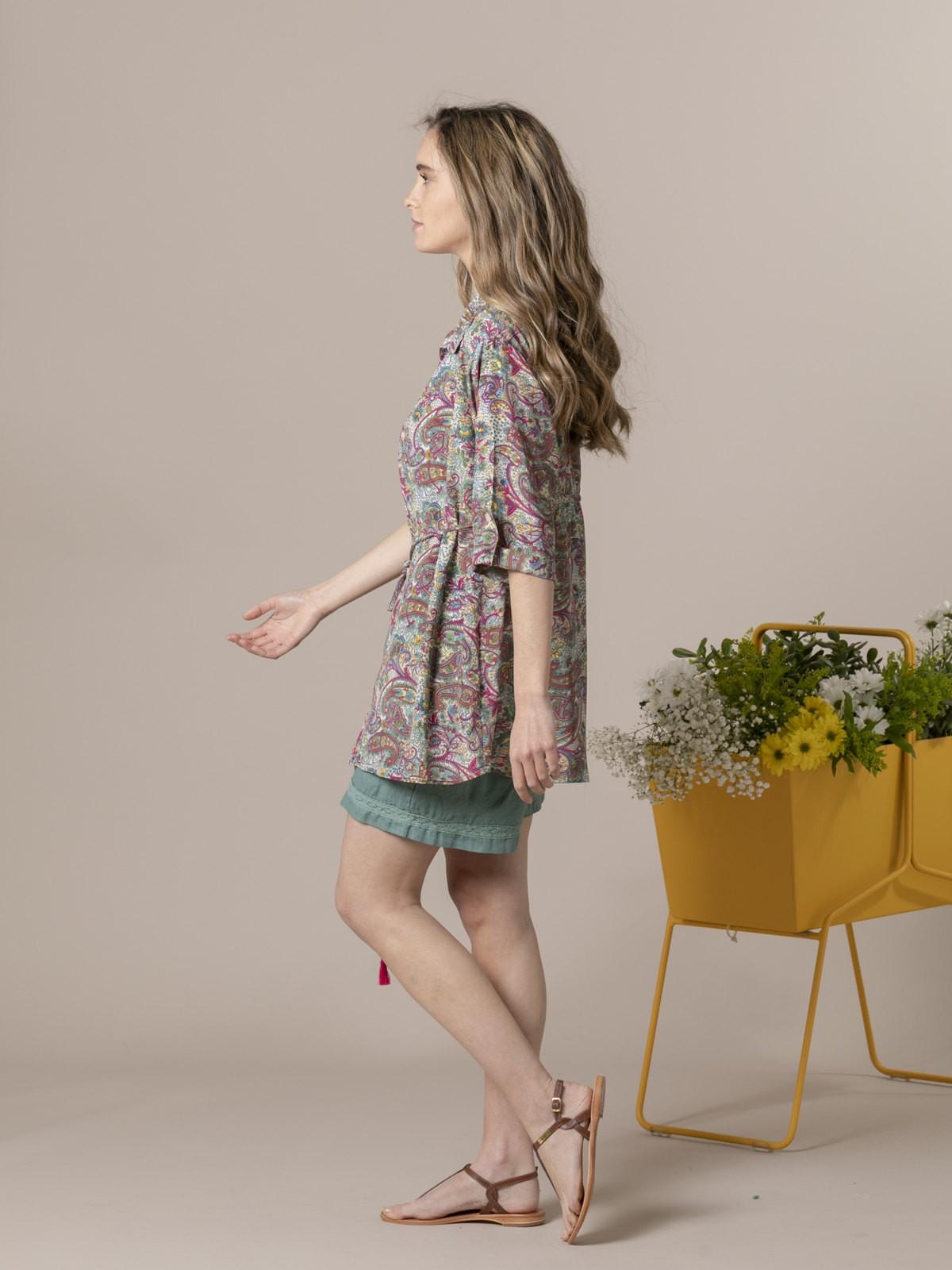 Camisa mujer fluida estampada botones Multicolor