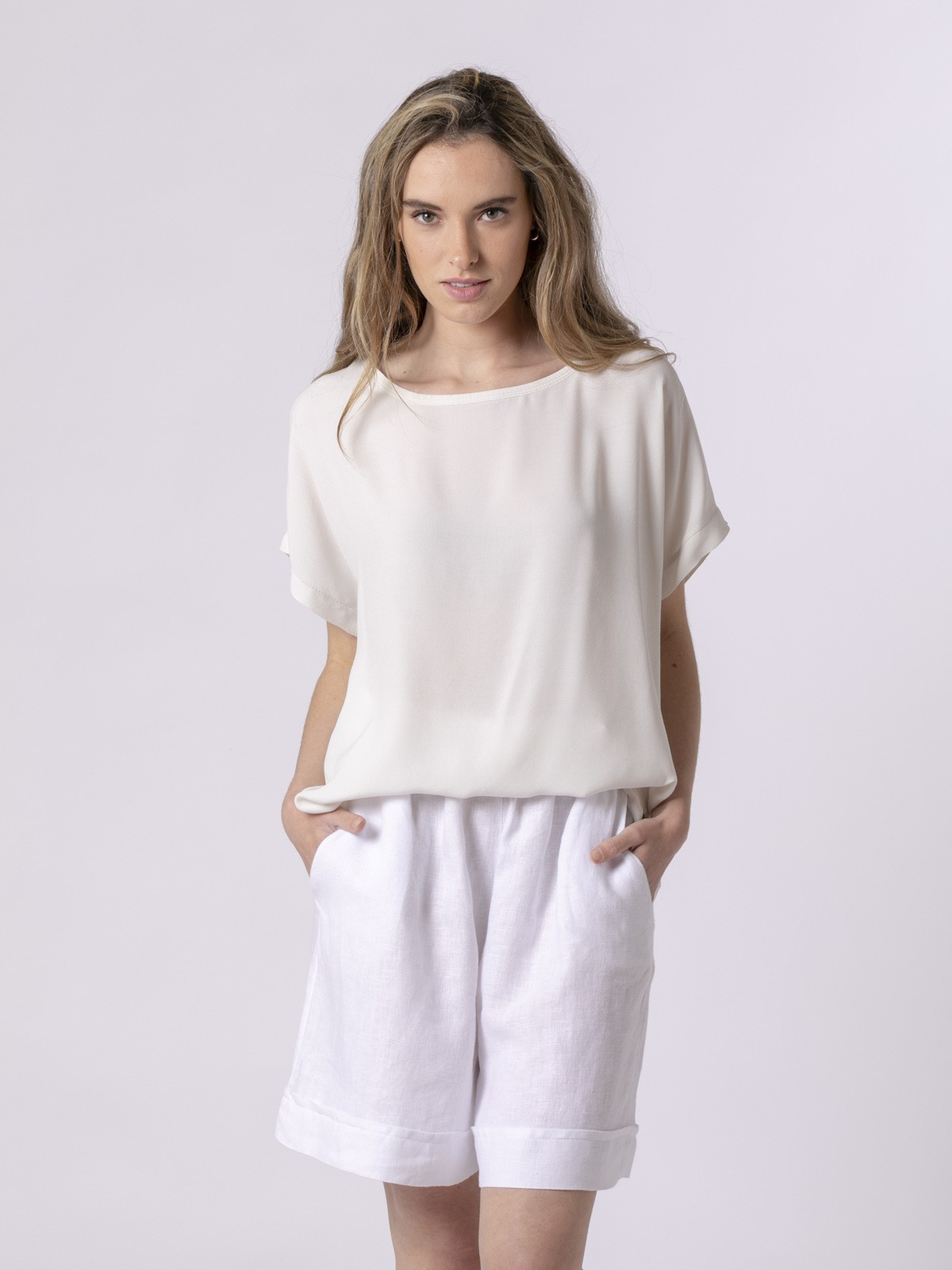 Blusa de mujer manga corta Beige
